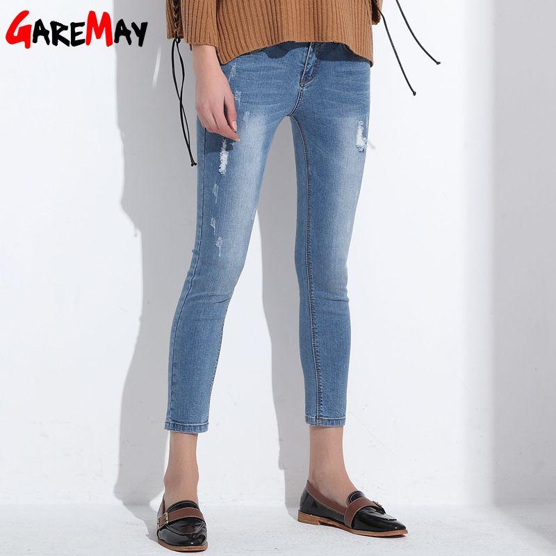 Ripped Jeans For Women Skinny Denim Capri Jeans Femme Stretch Female Jeans Vaqueros Mujer Slim Pencil Pants For Women GAREMAY