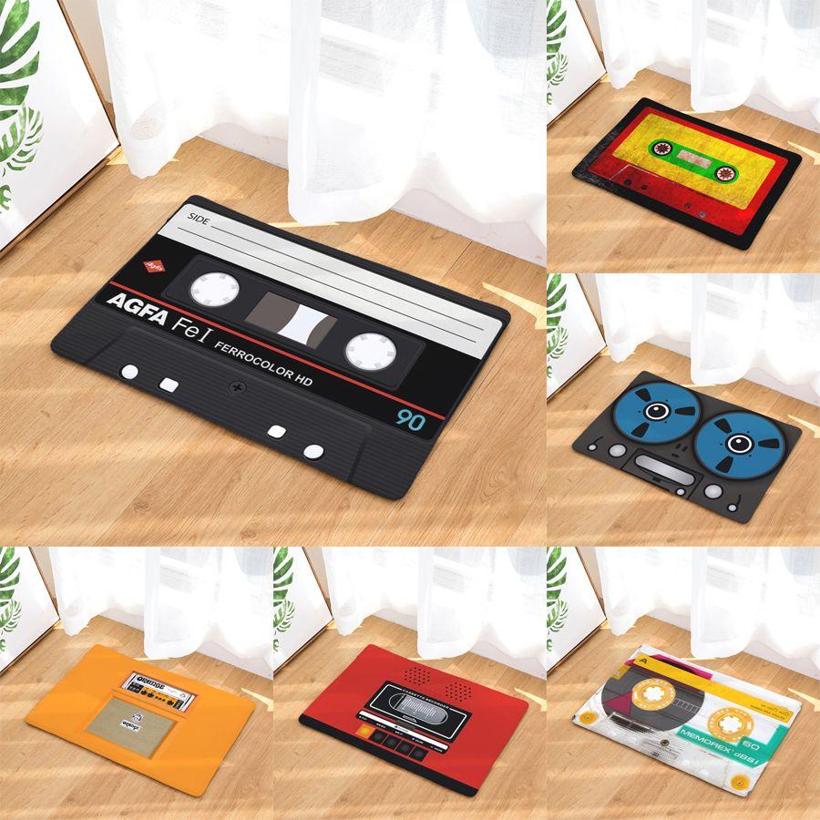 decorUhome 1 pc Retro Entrance Mat Anti-Slip Doormat Cassette Tape Radio Carpets Bedroom Rugs Decorative Stair Mats Home Decor