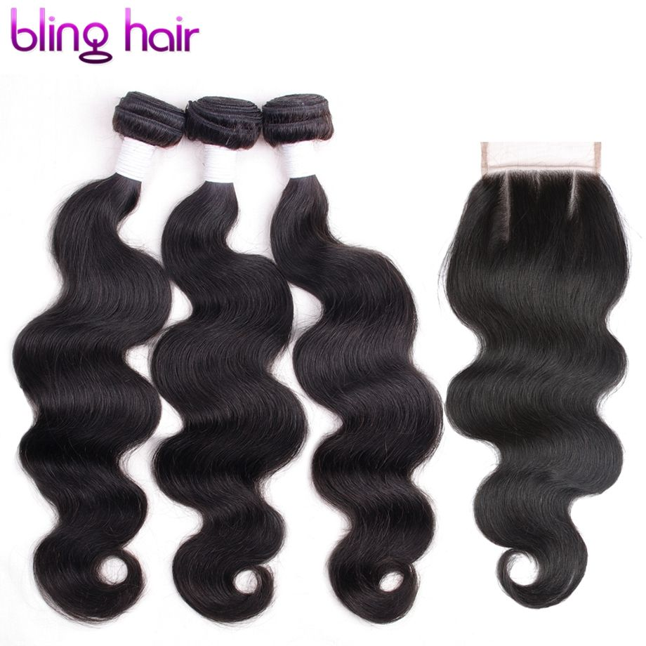 blinghair Malaysian Body Wave 3 Bundles With 4x4 Lace Closure Remy Hair Bundles For Salon Hair Extension Three part Middle Part