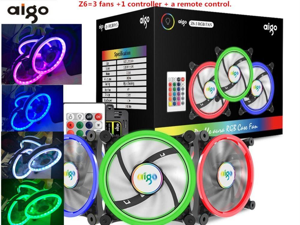 Aigo Z6 fan RGB LED Computer Case PC Cooling Fan 120mm remote control 2 aura fans