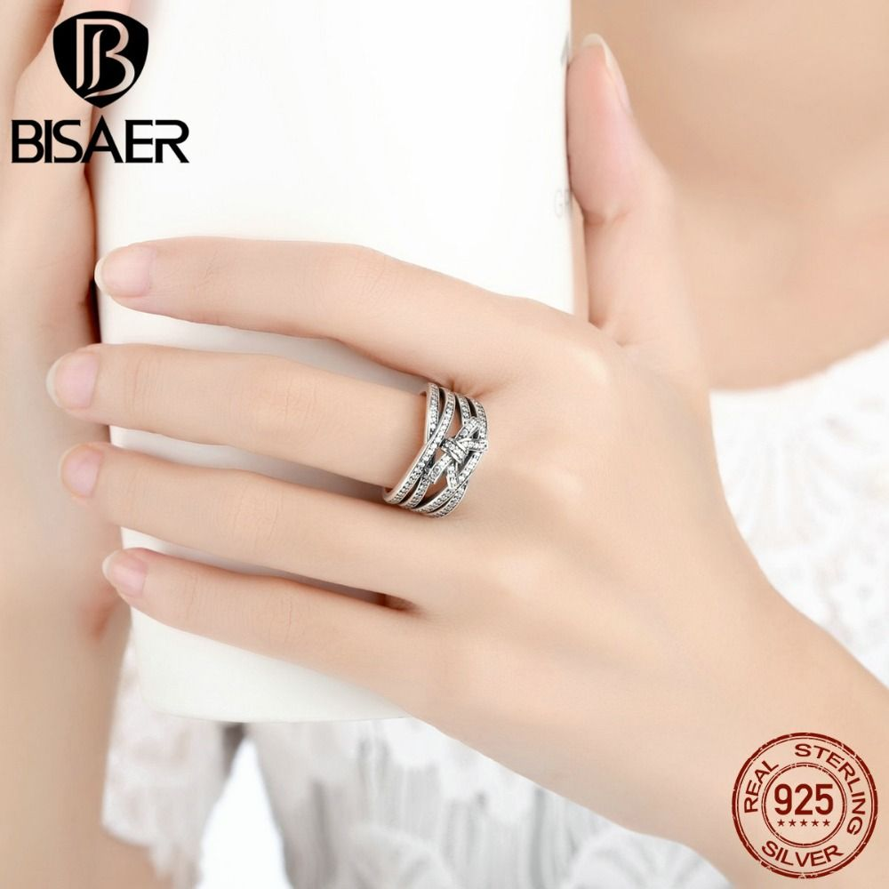 BISAER New Classic 925 Sterling Silver Big Bow Knot DELICATE SENTIMENTS RING Finger Ring  Jewelry WEU7189