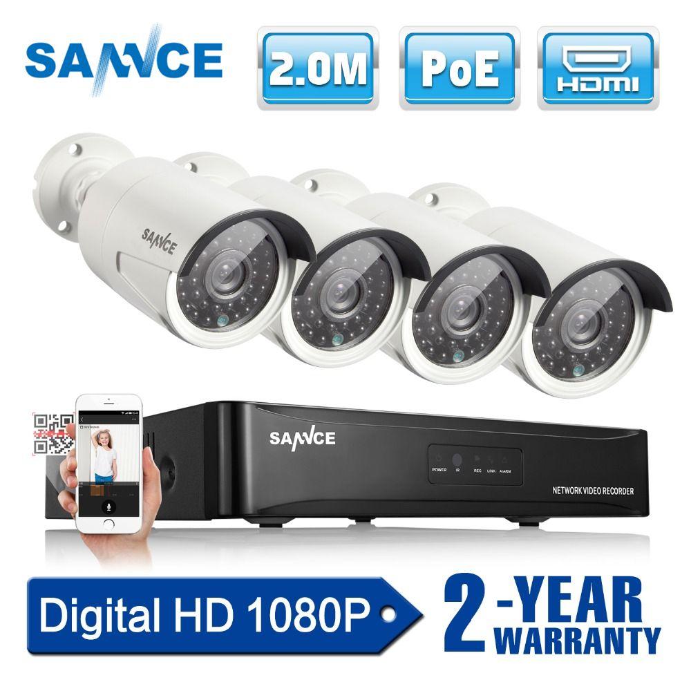 SANNCE 4CH 1080 p Netzwerk POE NVR Kit CCTV Sicherheit System 2.0MP IP Kamera Im Freien IR Nachtsicht Überwachung Kamera system