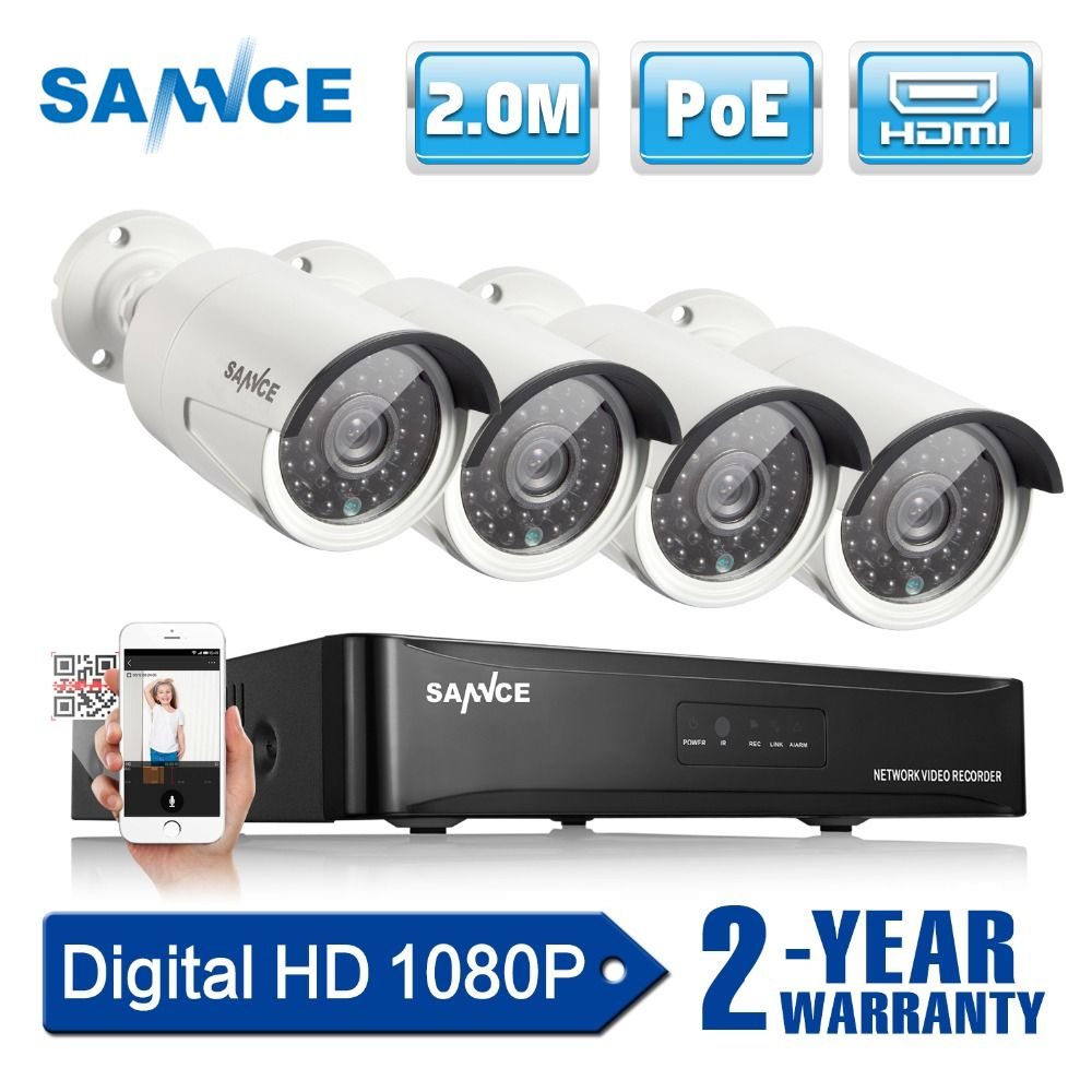 SANNCE 4CH 1080P Network POE NVR Kit CCTV Security System 2.0MP IP Camera Outdoor IR Night Vision Surveillance Camera System