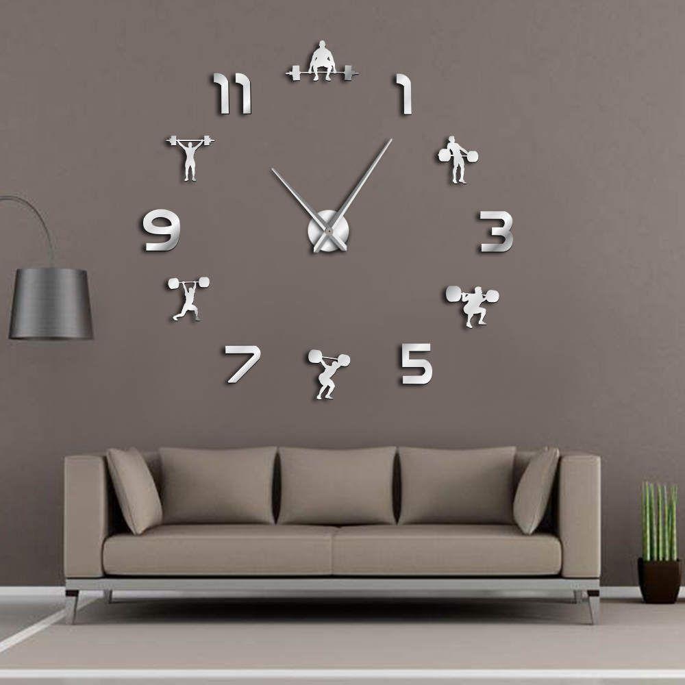 Haltérophilie salle de Fitness décoration murale bricolage horloge murale géante effet miroir Powerlifting sans cadre grande horloge murale GYM montre murale