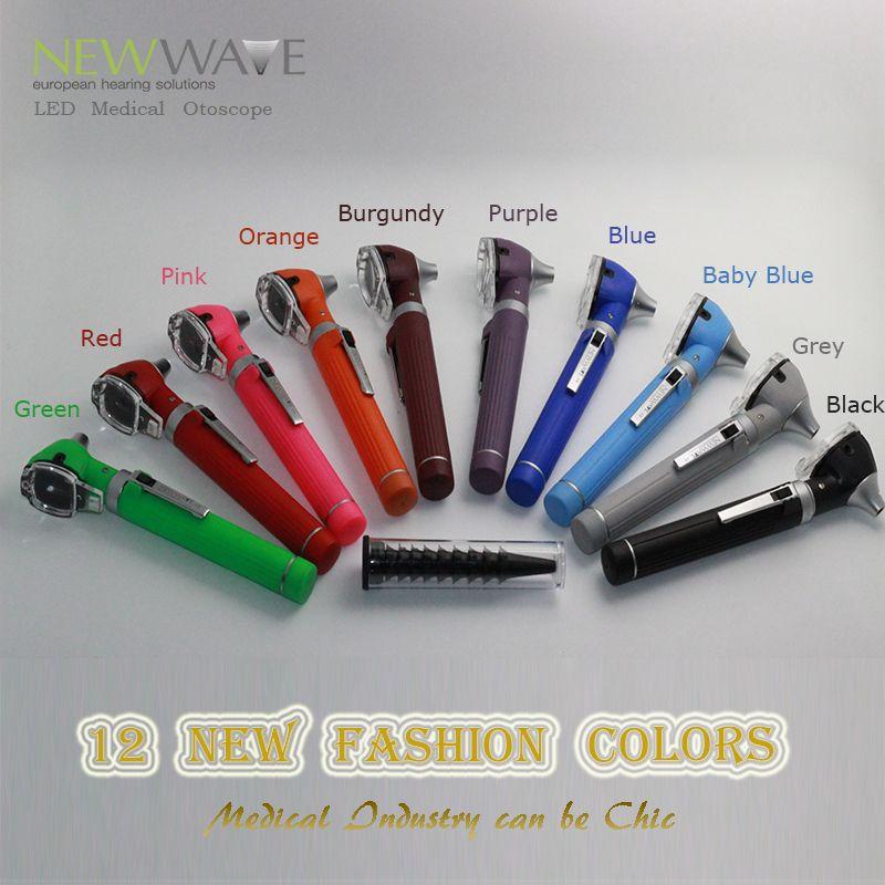OtoscopeFree shipping 12 colors PRO-Fiber optic L.E.D Portable Otoscopio <font><b>Bright</b></font> LED Ear Care Diagnostic Set kit +Protective Case