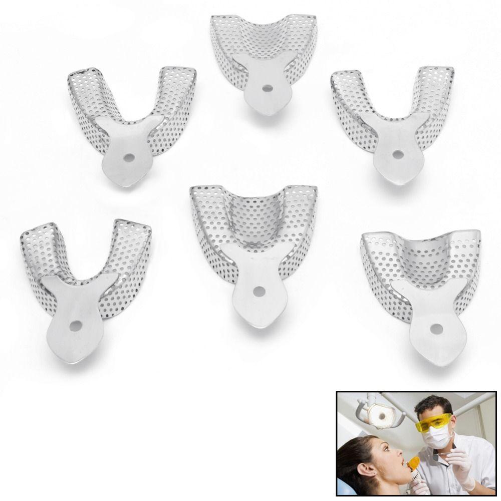6 teile/paket Dental Autoklavierbar metall Eindruck Trays Edelstahl Oberen Unteren Neue