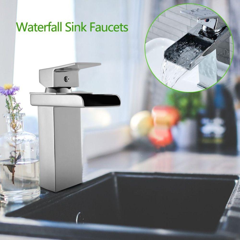 Wasserfall Design verchromung Poliert Wasserhahn Waschbecken Wasserhahn Platz Modernes Bad Wc Waschbecken Waschbecken Einlochmontage Wasserhahn