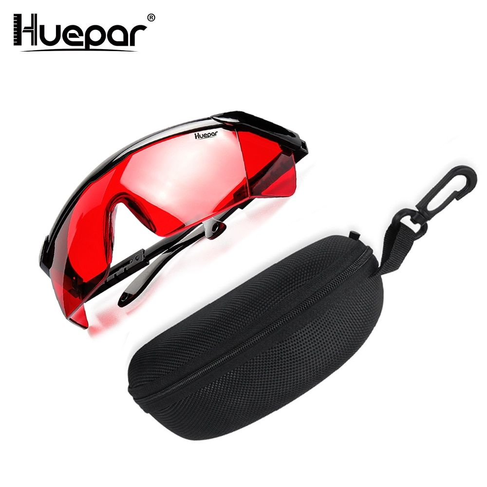 Huepar Red Laser Enhancement Glasses Adjustable Laser Safety Glasses Protection Eyewear Cross Line Rotary Protective Glasses