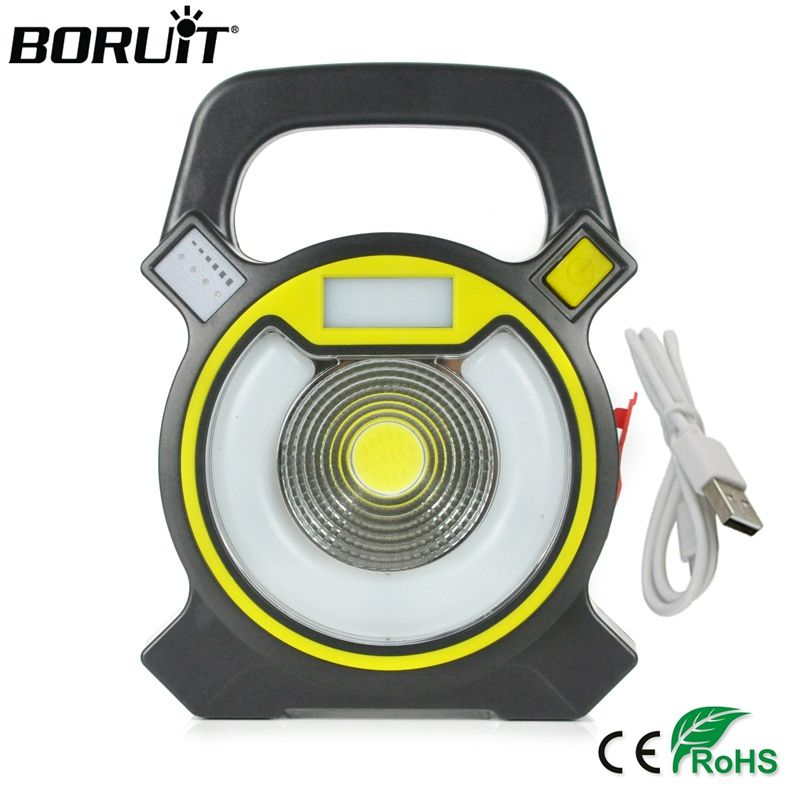 BORUiT 15W COB LED Portable Floodlight <font><b>Lantern</b></font> Outdoor Waterproof 4-Mode Emergency Spotlight Lamp for Camping Hiking Tent Light