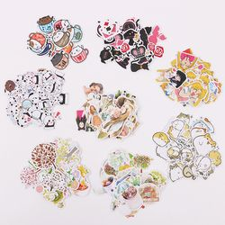 1 Set Cute Cartoon Korean Style Decorative Stickers Adhesive Stickers Scrapbooking DIY Decoration Diary Stickers