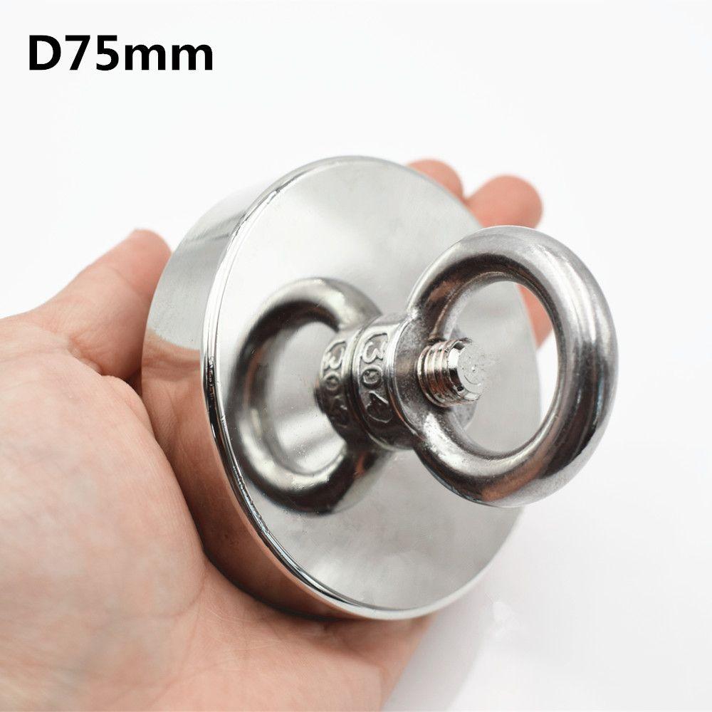 1pc Neodymium magnet super strong powerful salvage hook fishing Magnet Circular Ring permanent holder deap sea equipment D75mm