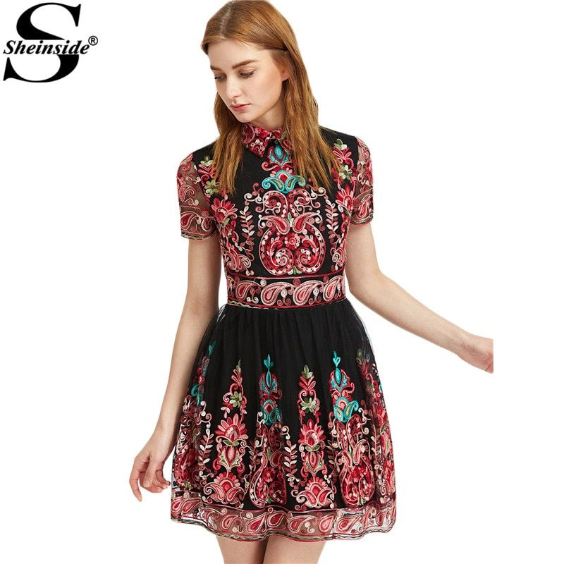 Sheinside Embroidery Party Dress Women Black Vintage Mesh Overlay Boho Skater Dresses 2017 Cute Lapel A Line Dress