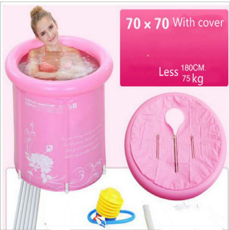 2 цвета толщиной складной Ванна, надувные ПВХ бассейн для детей и взрослых с крышкой