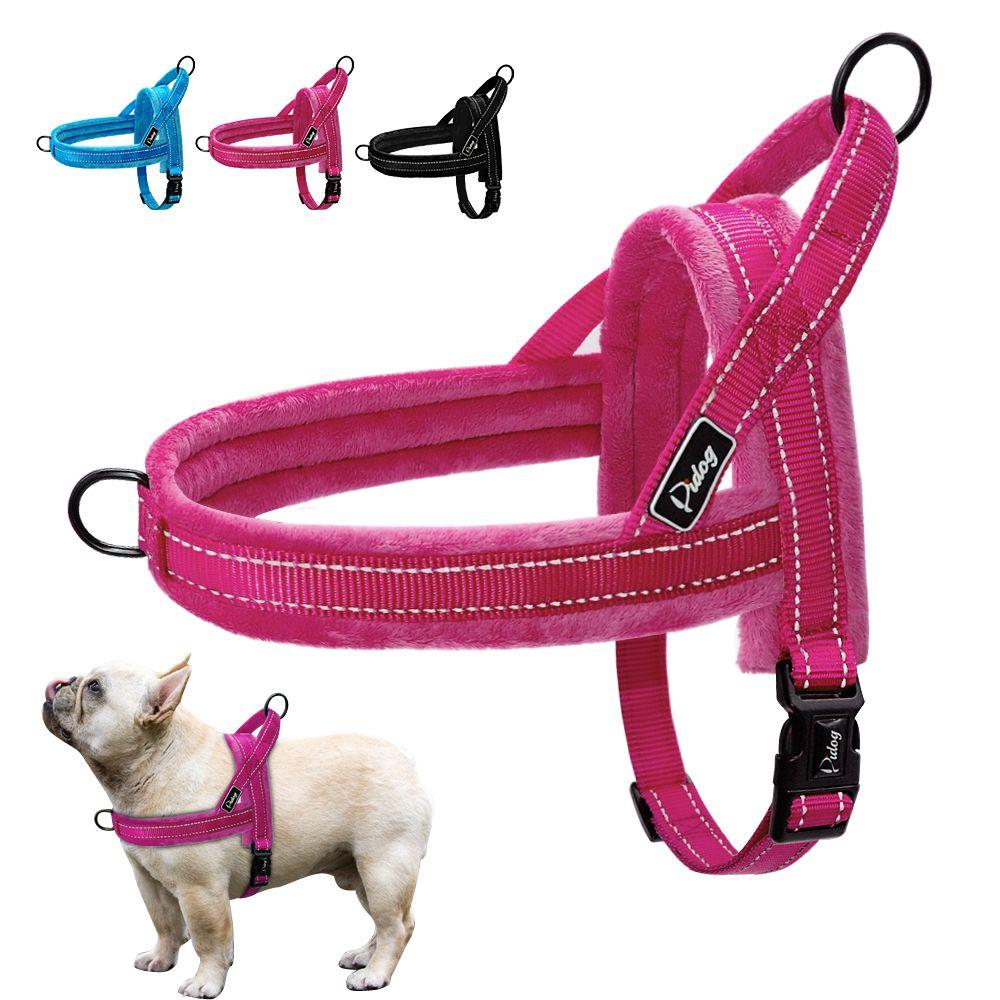 Harnais réfléchissant en Nylon pour chien, flanelle souple, rembourré, sans sangle de traction, harnais pour l'entraînement à la marche, petits et grands chiens