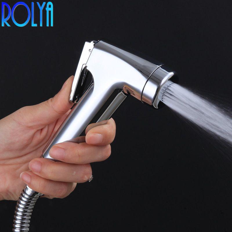 Jet de Bidet à main ROLYA haute pression d'eau ABS plastique petite douche de salle de bains Portable Chrome Shattaf Jet de pulvérisateur de toilette