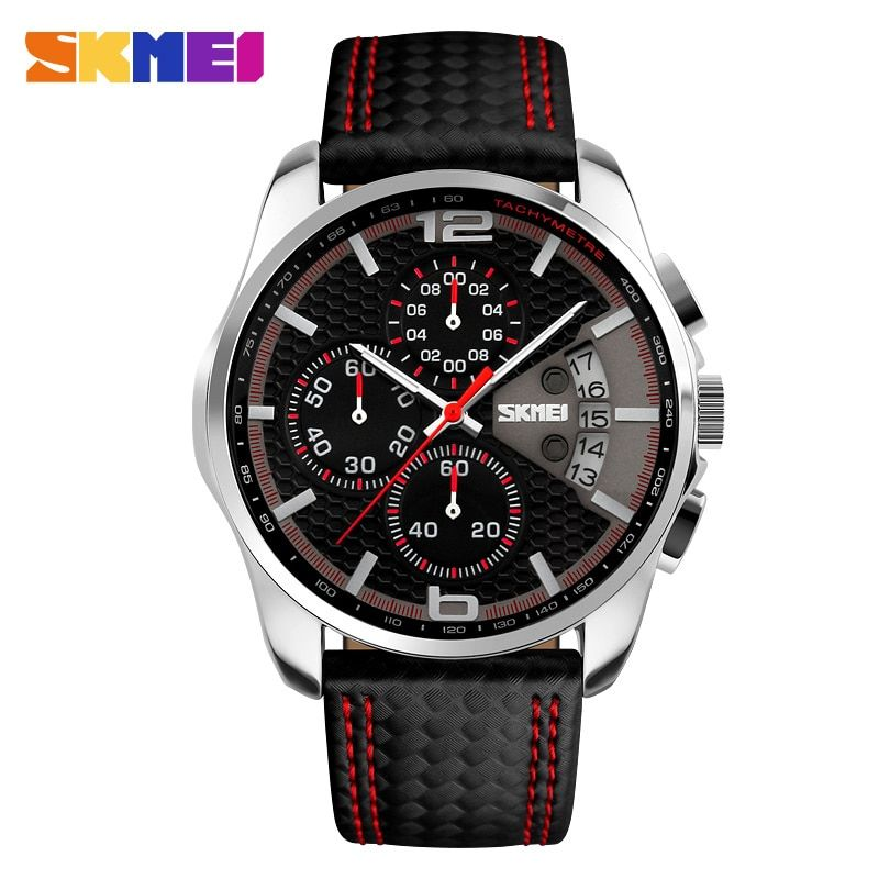 SKMEI Outdoor Sports Quartz Watches Men Top Luxury <font><b>Brand</b></font> Chronograph Leather Waterproof Wristwatches Relogio Masculino 9106