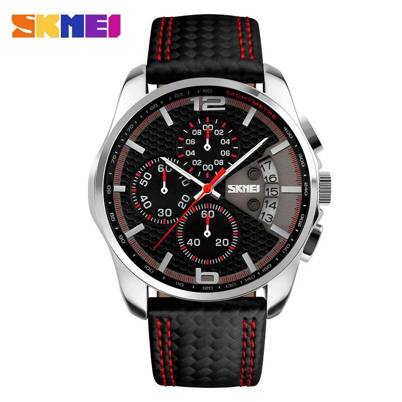 SKMEI Outdoor <font><b>Sports</b></font> Quartz Watches Men Top Luxury Brand Chronograph Leather Waterproof Wristwatches Relogio Masculino 9106