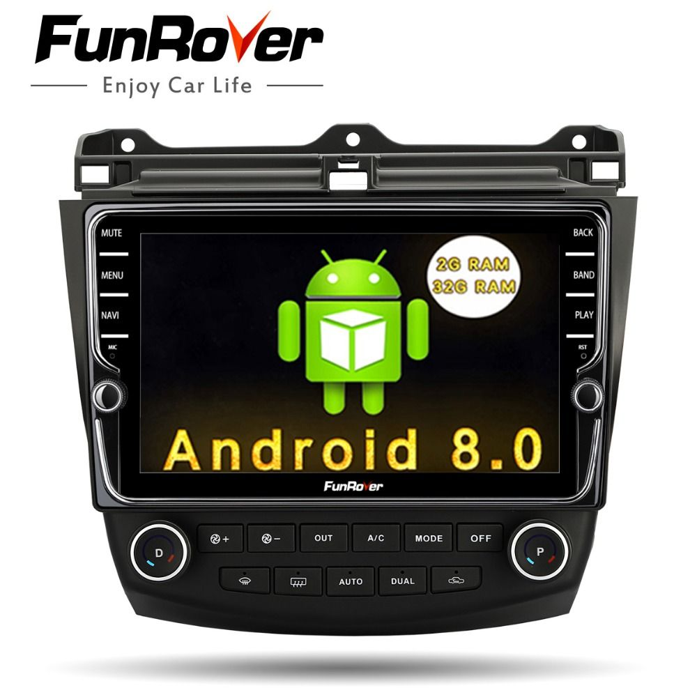 Funrover 9'' Android8.0 2 din car dvd gps player for Honda Accord 7 2003-2007 multimedia stereo auto radio video navigation rds