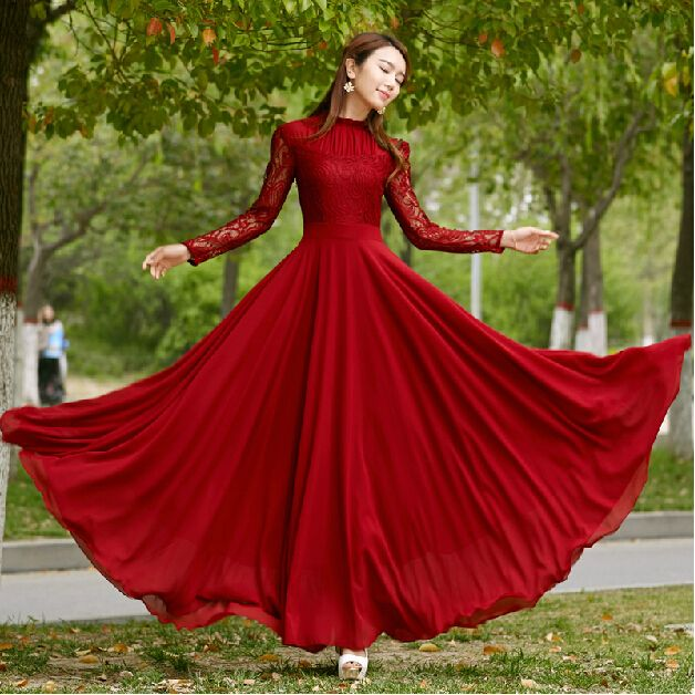 2016 Vestidos women runway fashion dress elegant bohemian beach summer dress chiffon vintage lace top dress long maxi dress