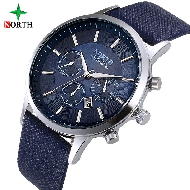 <font><b>North</b></font> Luxury Men Watches Waterproof Genuine Leather Fashion Casual Wristwatch Man Business Sport Clock Classic Blue Silver 6009