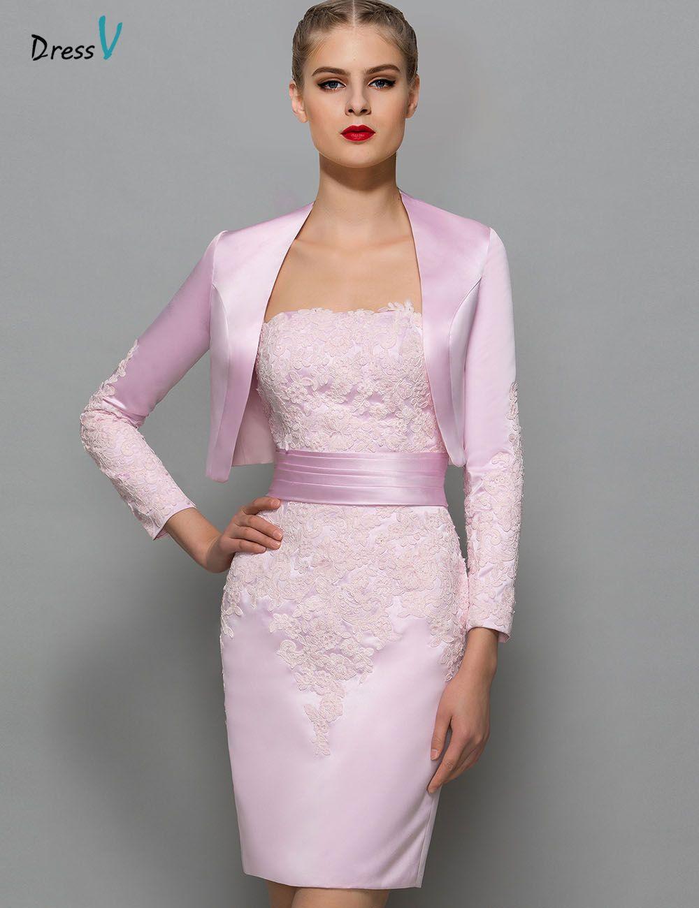 Dressv pink elegant sheath short mini mother of the bride dress strapless zipper up cocktail dress mother of the bride dress