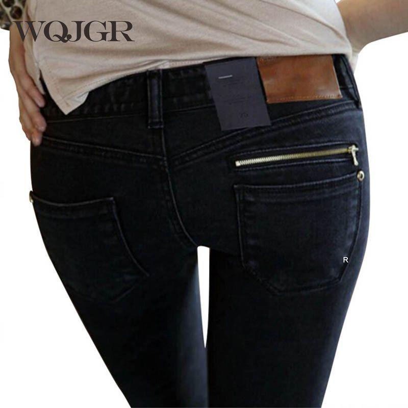 WQJGR Jeans femme de 2019 nouveau femme crayon pantalon Slim pieds noirs Jeans pantalons femmes Jeans longs pantalons