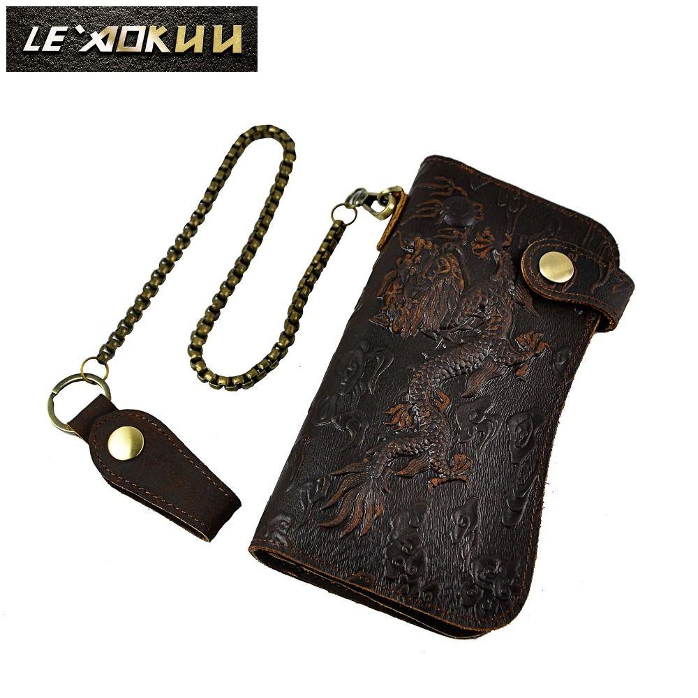 Cattle Male Genuine leather Dargon Tiger Emboss Fashion Checkbook Iron Chain Organizer Wallet Purse Design Clutch Handbag 1088