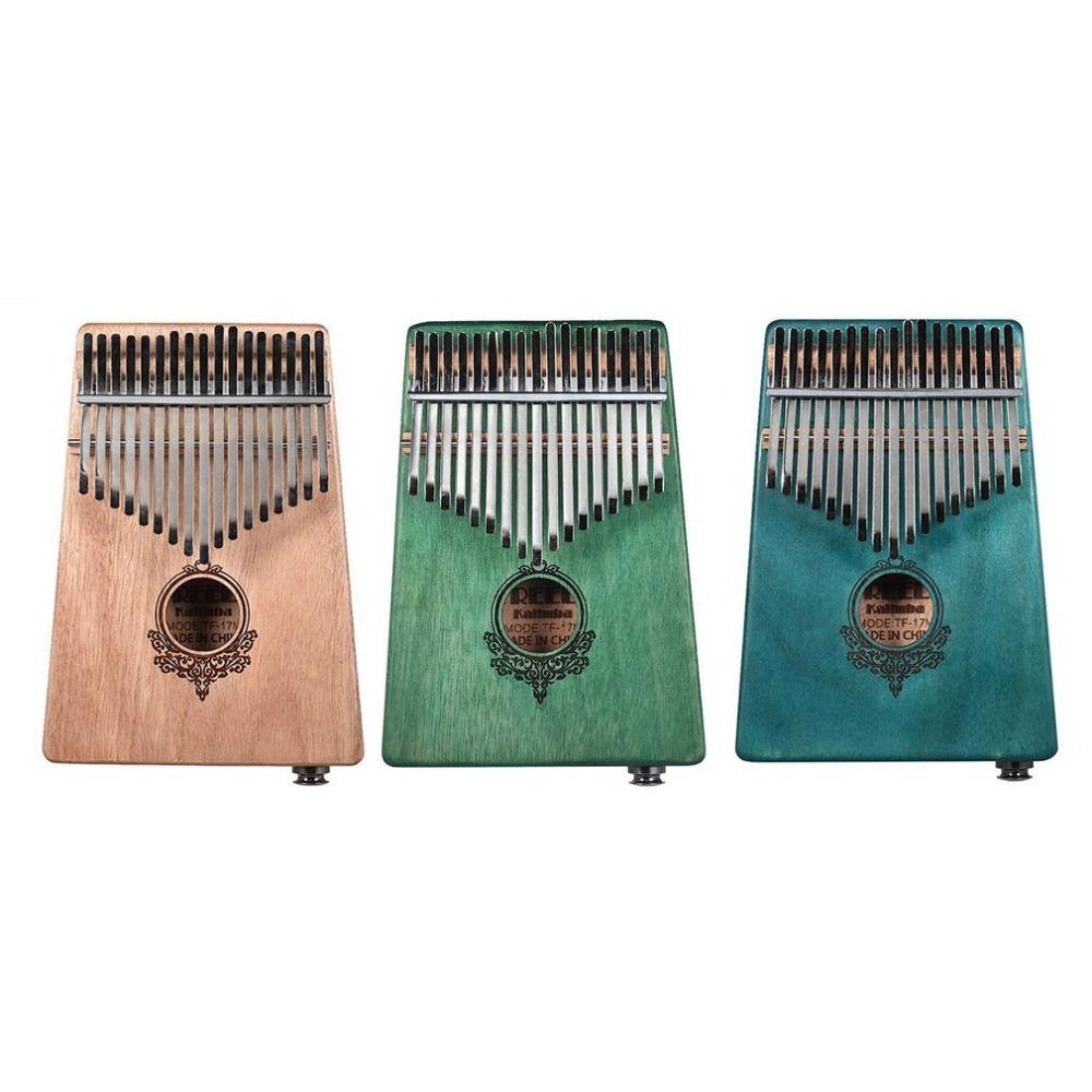 17 Key Kalimba African solid Mahogany Thumb Finger Piano Sanza Solid Wood Kalimba Mbira Thumb with Electric Box