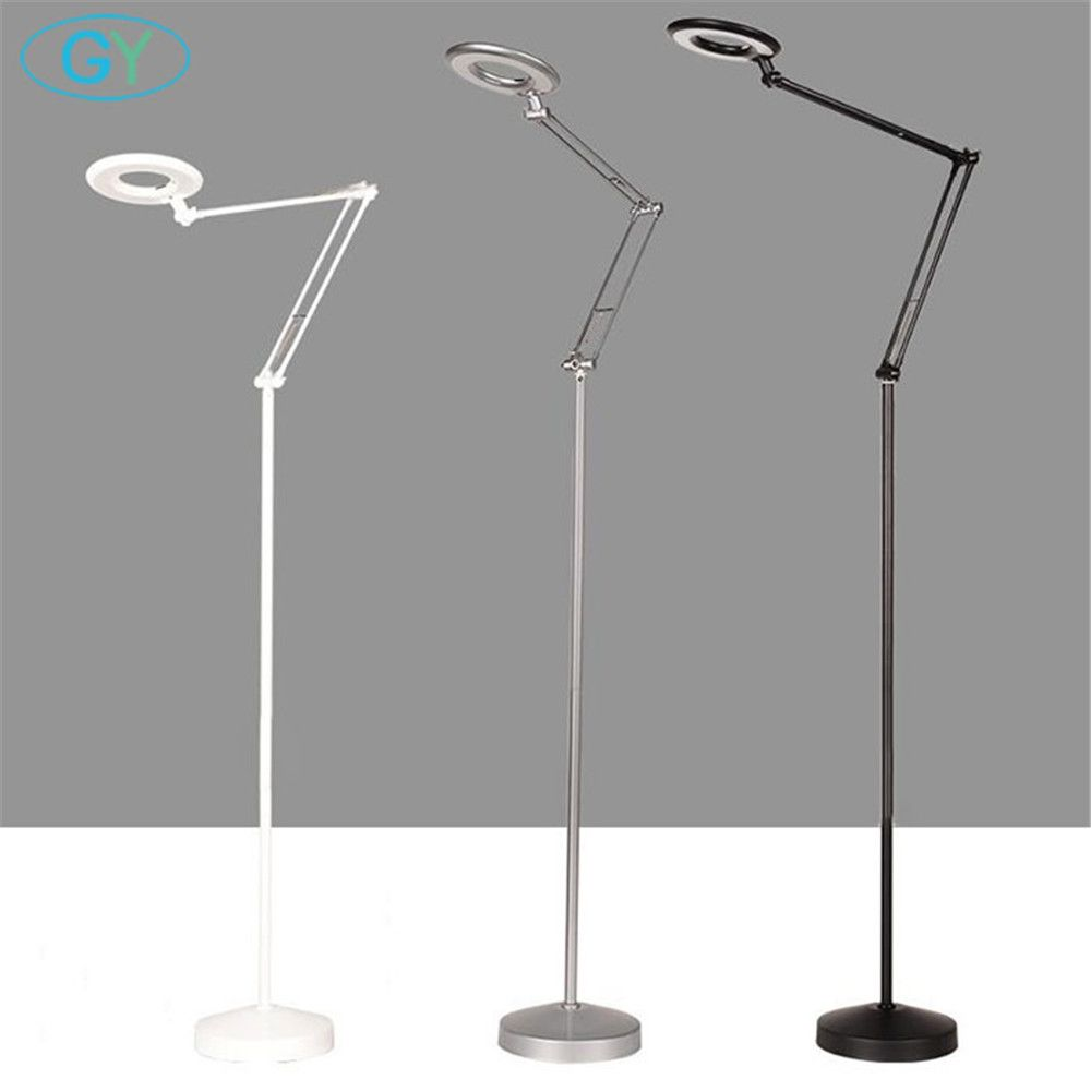 Nordic industrial LED Floor Lamp with 8*Magnifier 8W 12W 16W Dimmer Touch Modern Standing Light for Nail Art Beauty Store