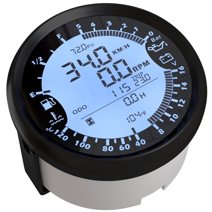 6 in 1 Multi-functional Gauge Meter 85mm Car GPS Speedometer Truck Boat Digital LCD Speed Gauge Knots Compass with GPS Antenna