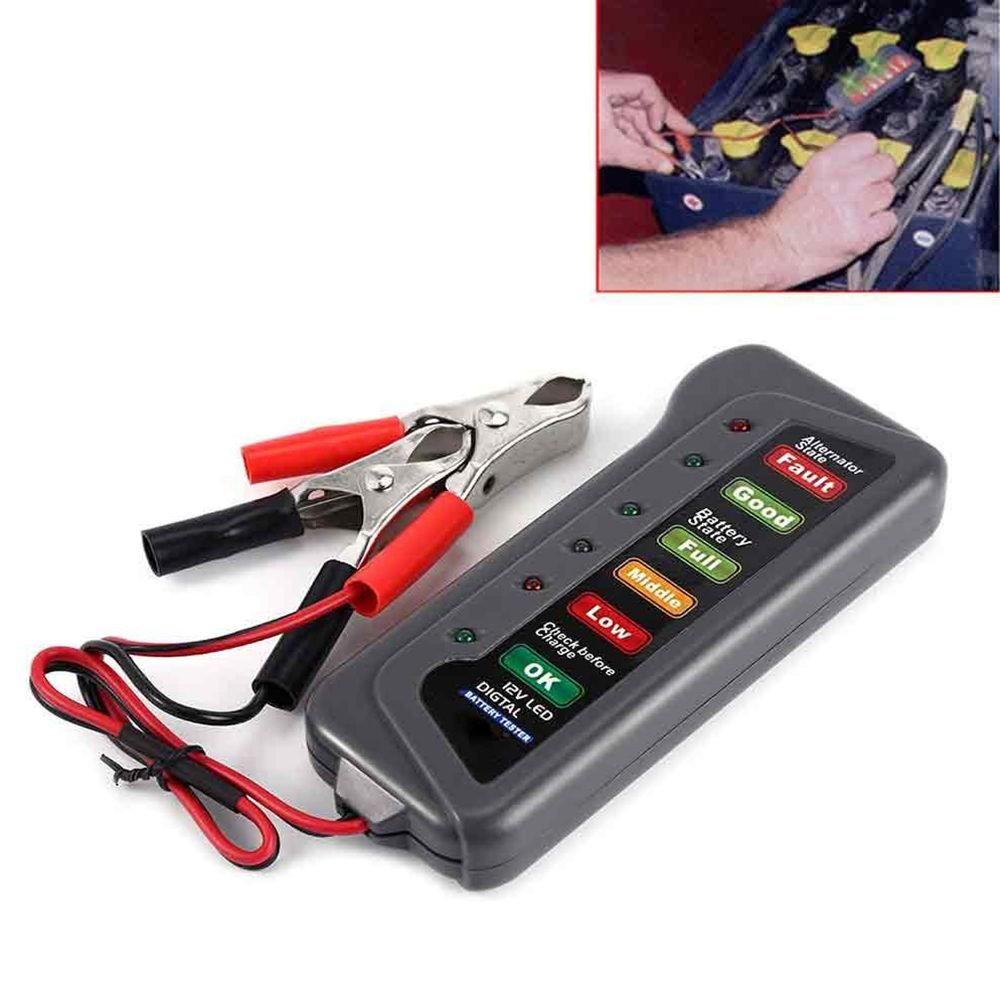 New Digital Battery Capacity Tester Measuring Instruments Power Supply Overload protection IC chip 6-LED Display Vehicle 12V