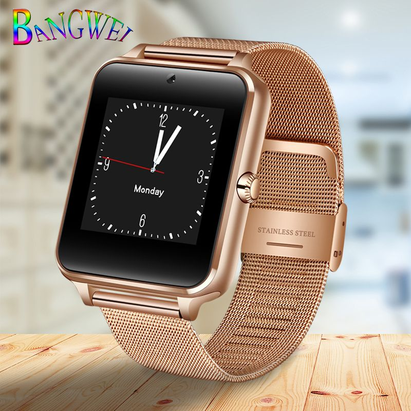 BANGWEI2018 New Smart Watch Men Fashion Stainless Steel Strap Support SIM Card TF Call LED Large Screen Camera Sport Watch + Box