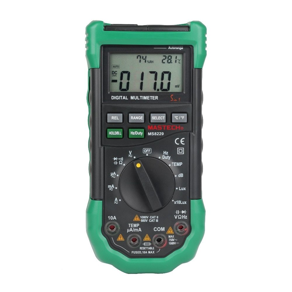 MASTECH MS8229 Digital Multimeter 5 in 1 Noise Illumination Temperature Humidity Tester Diagnostic-tool Auto Range LCD Backlight