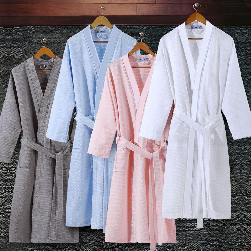 En Vente Amoureux D'été Aspirer L'eau Kimono Peignoir Hommes plus la Taille Sexy Gaufre Peignoir Robe de Chambre Hommes Mâle Salon Robes