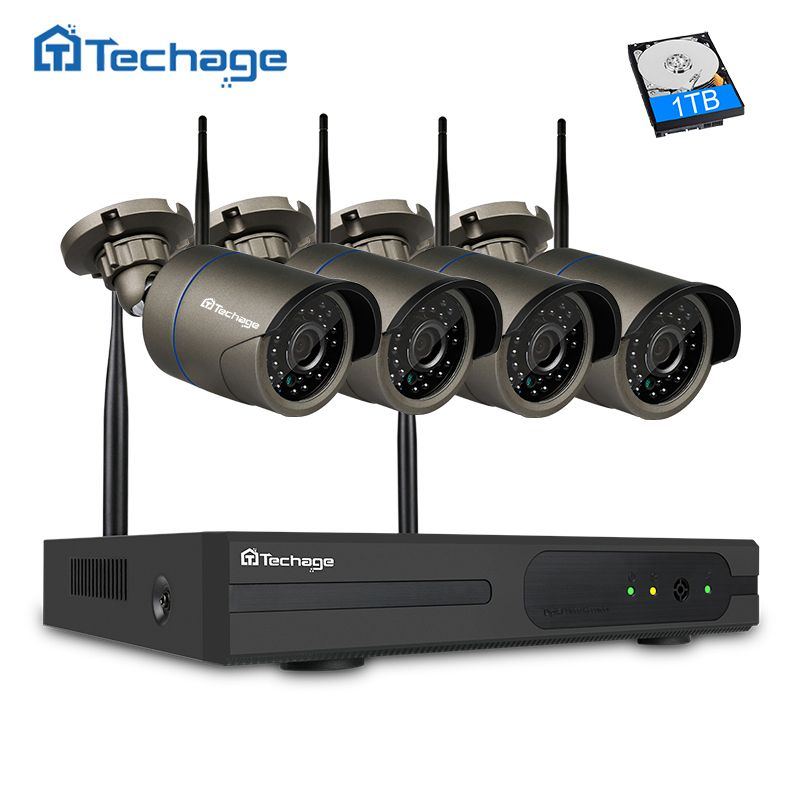 Techage Plug and Play 4CH <font><b>1080P</b></font> HD Wireless NVR Kit P2P 720P 1MP Indoor Outdoor IR Night Vision Security Camera WIFI CCTV System