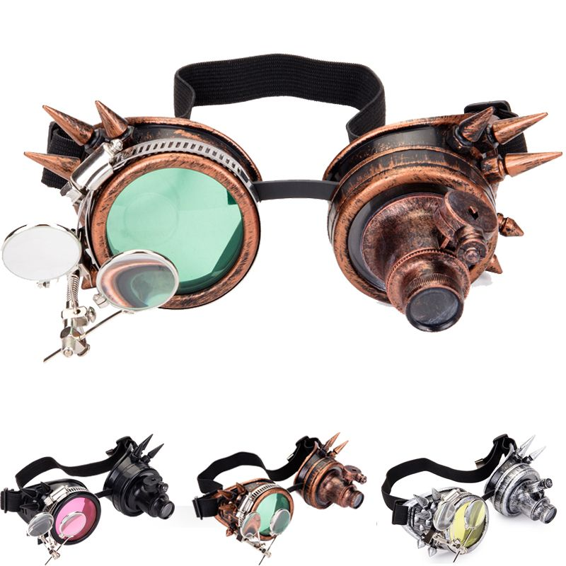 C.F.GOGGLE Cosplay Vintage Victorian Rivet Steampunk Goggles Glasses Welding Cyber Gothic Freeshipping&Wholesale
