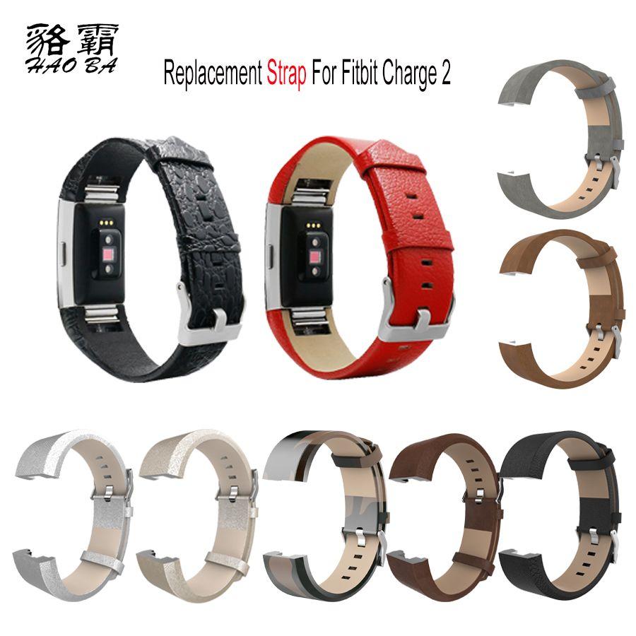 Bracelet en cuir véritable de remplacement pour Fitbit Charge 2 Bracelet de bande pour Charge 2 Bracelet intelligent de bande de Sport