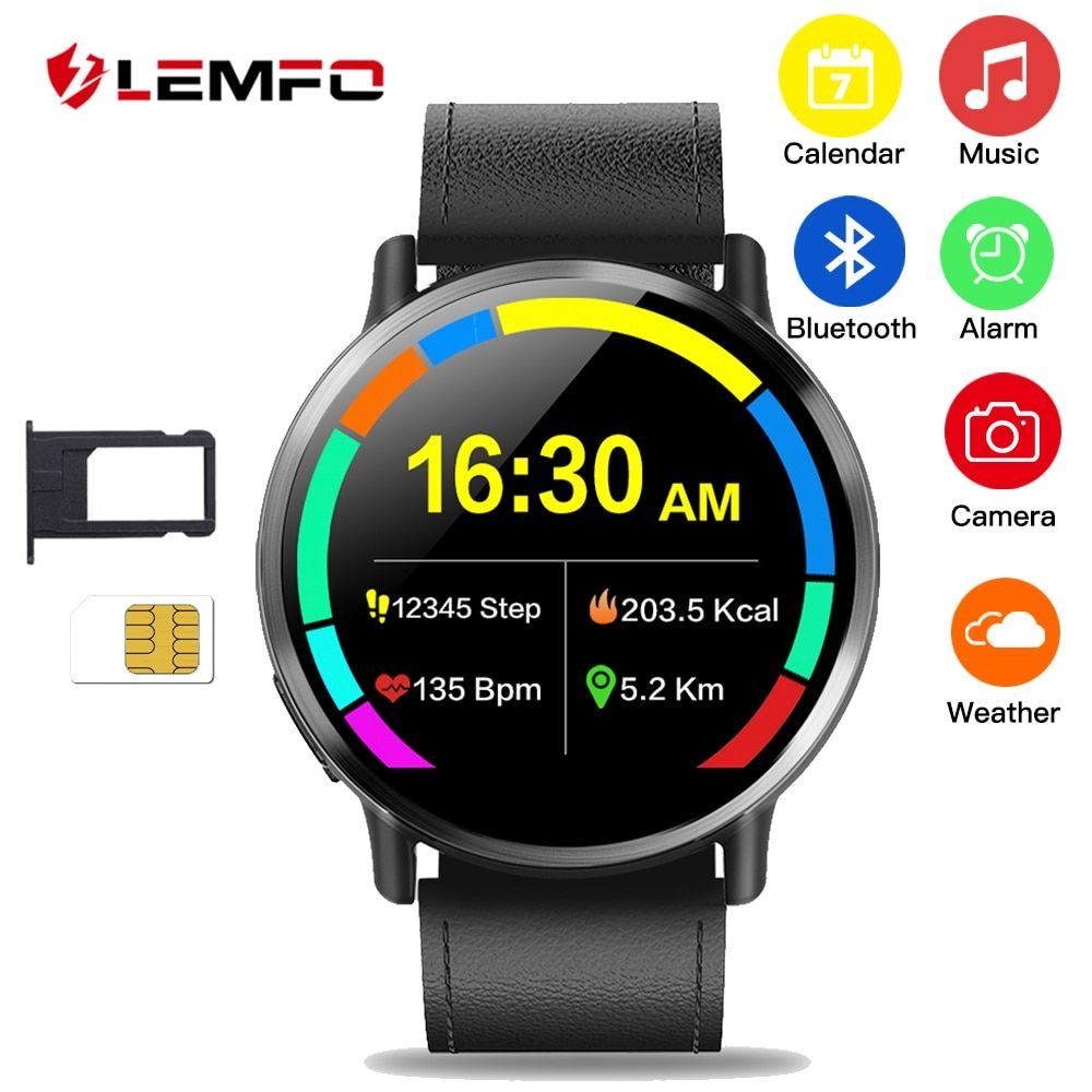 LEMFO LEM X Smartwatch Android 7.1 LTE 4G Sim WIFI 2.03 Inch 8MP Camera GPS Heart Rate IP67 Waterproof Smart Watch for Men Women