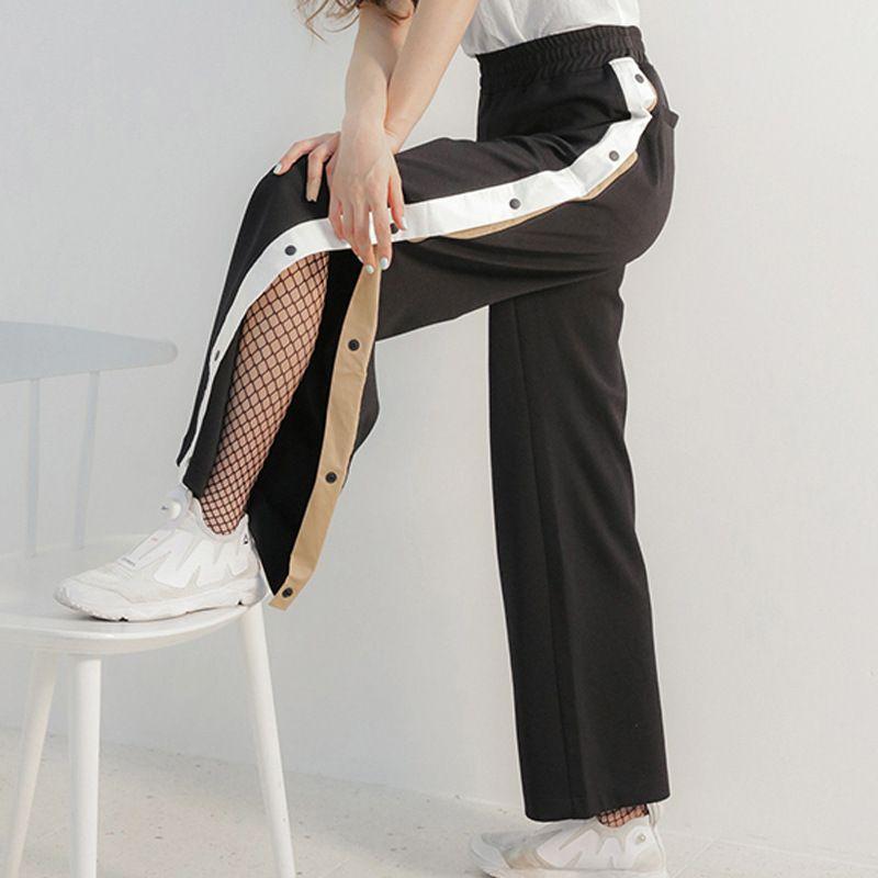 LANMREM 2018 Summer Fashion New Simple All-macth Splice Color Side Buckle Loose Elastic Waist Pants Female Q54701