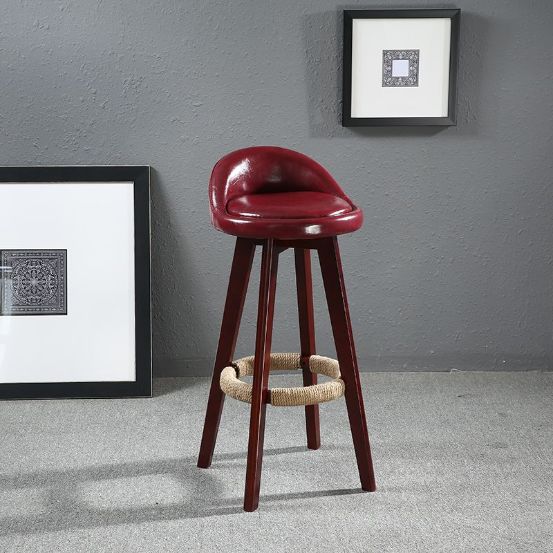 Seat Height 60cm Swivel Wood Bar Stool Chair Leather Upholstered Mahogany Finish Cafe Kitchen Home Bar Furniture Chair Stool