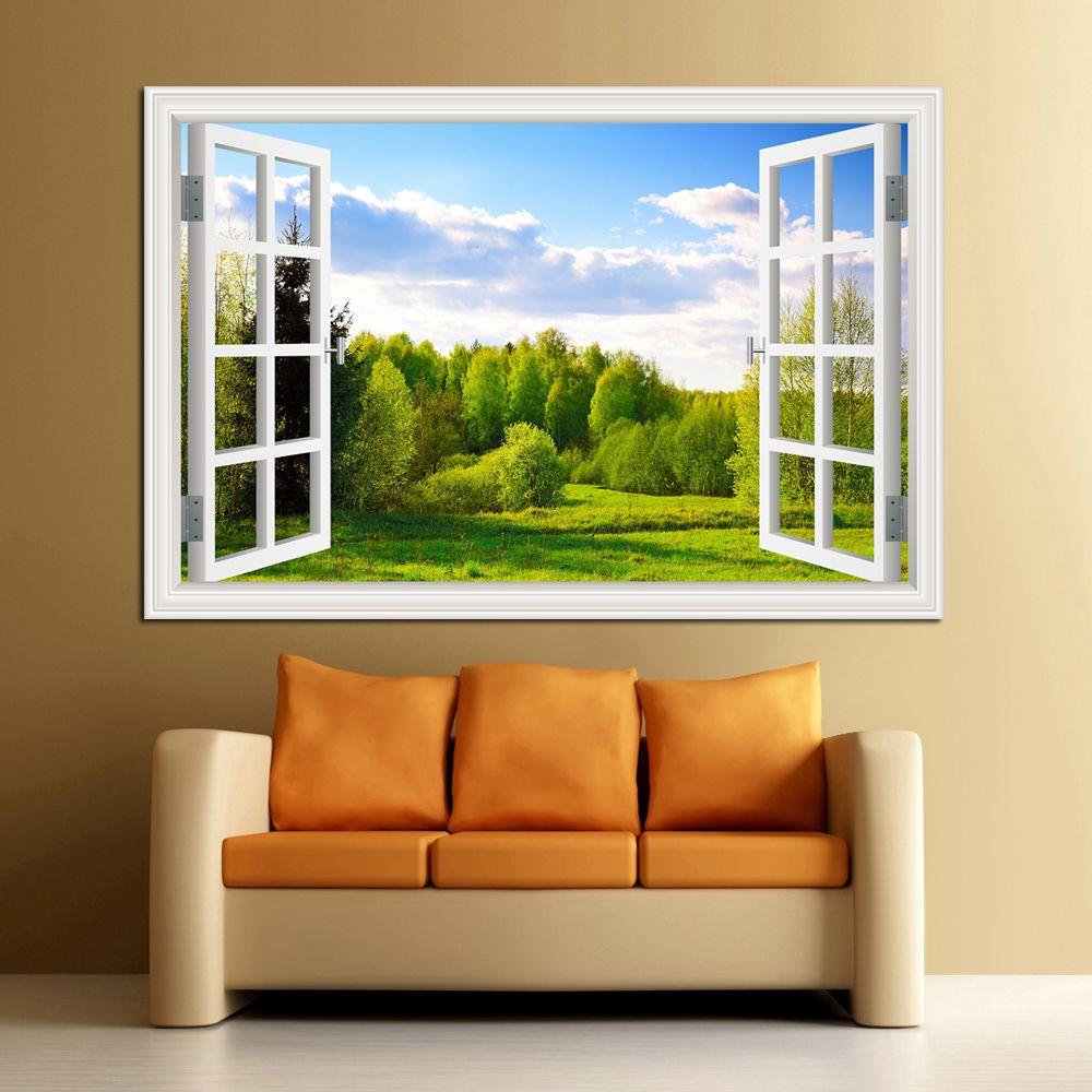 Incroyable forêt arbre 3D mur autocollant amovible fenêtre vue paysage papier peint décor à la maison