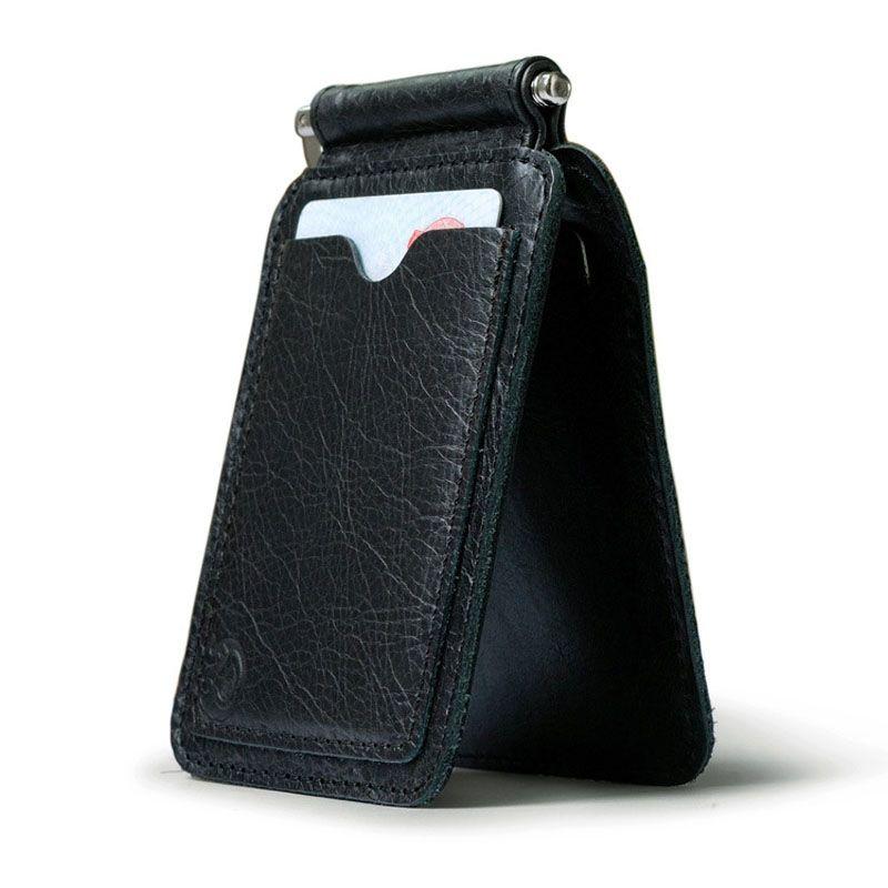 Marke Neue Vintage Casual Brieftasche Bargeld Dollar Geldscheinklammern Geldbörse Kreditkarte Clip Öffnen Schellen Echtes Leder Männer und Frauen Unisex