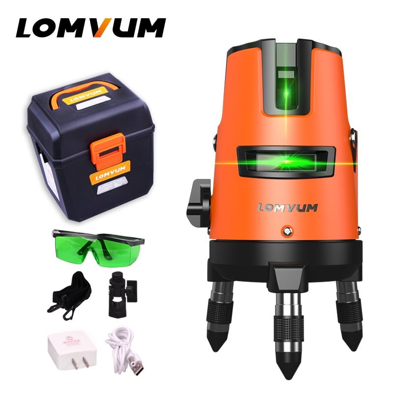 LOMVUM 5Lines 6points Outdoor Laser Level Self-Leveling 360 rotary Cross Line Lazer Level Tool slash function tripod level