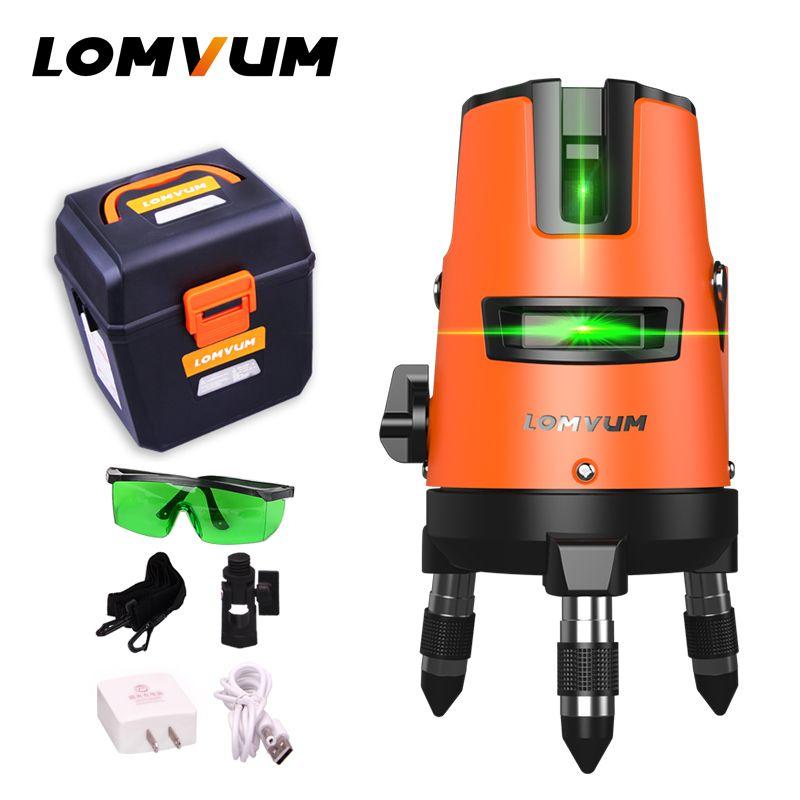 LOMVUM 5Lines 6points Outdoor Laser Level Self-Leveling 360 rotary Cross Line Lazer Level Tool slash function tripod level