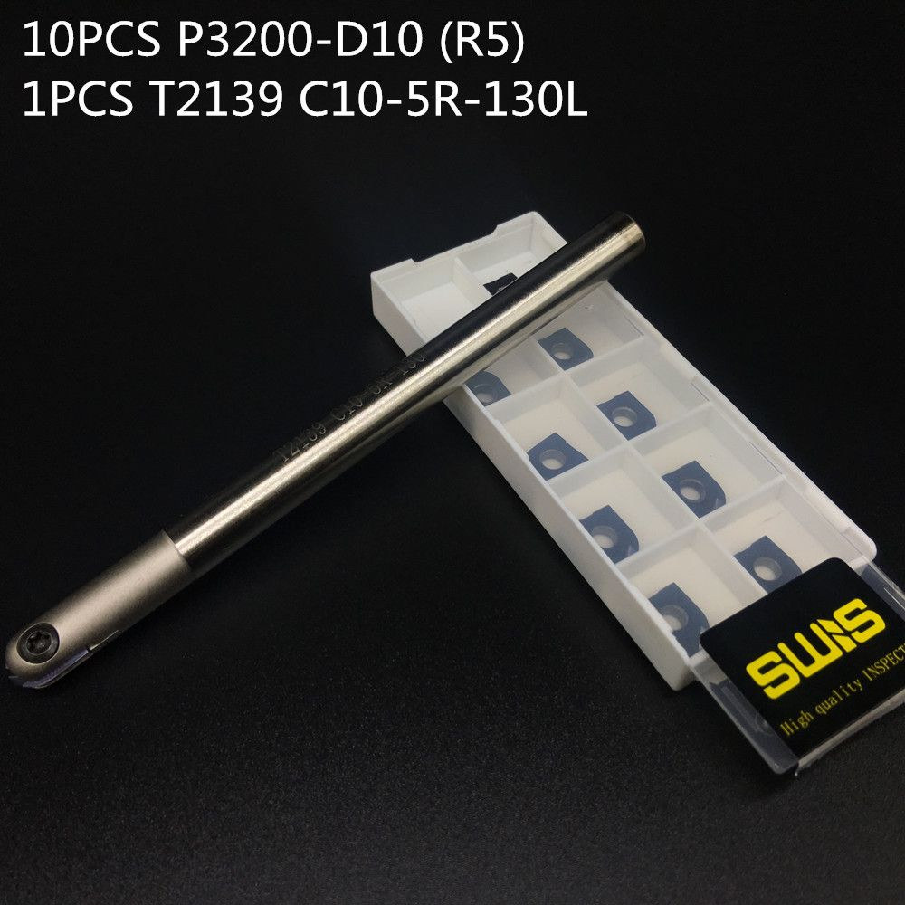10PCS P3200 D10 R5 Ball Carbide Insert 1PCS T2139 C10 R5 130MM Holder High Percision