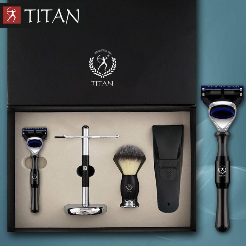 Titan rasage rasoir set 5 couches balde métal poignée blaireau cheveux brosse baber rasoir kit de rasage cadeau