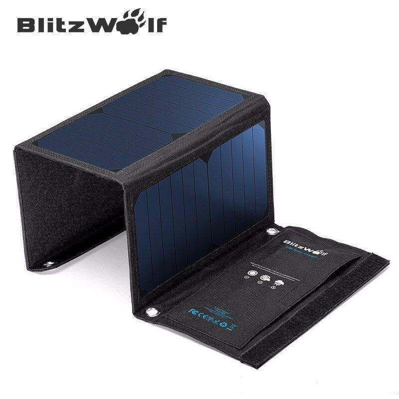 BlitzWolf Newest 28W 3.8A Portable Solar Cell Power Bank Foldable Powerbank USB Solar Panel Charger With Power3S SunPower