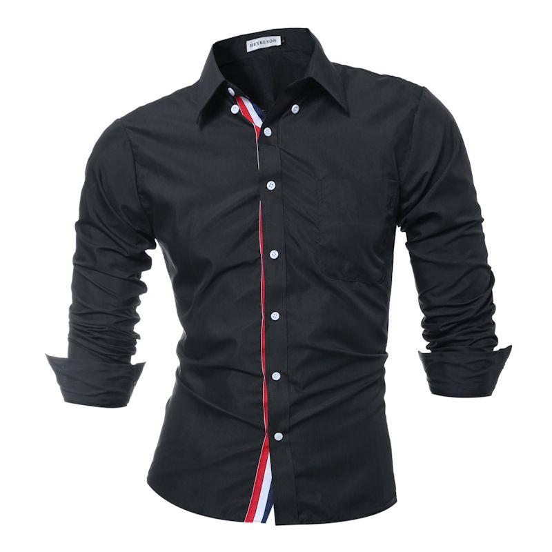 Brand 2017 Fashion Male Shirt Long-Sleeves Tops Solid Color High Quality Mens Dress Shirts Slim Men Shirt 3XL 9007