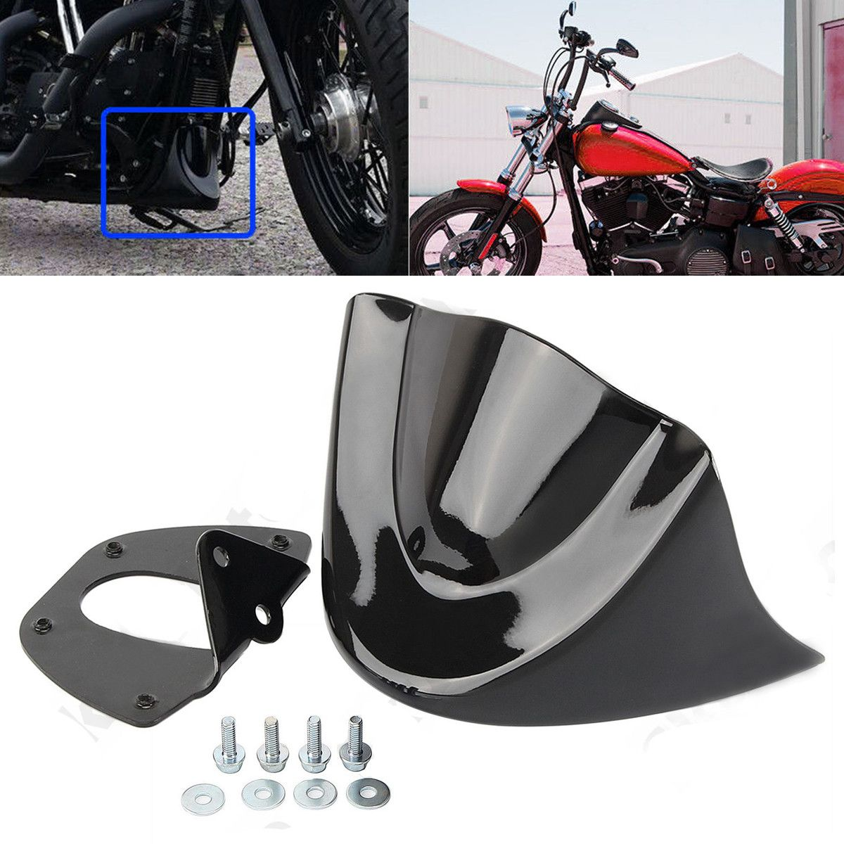 Glossy Black Motorcycle Front Chin Spoiler Air Dam Fairing Cover Mudguard Air Dam Fairing for Harley Dyna 2006-2017