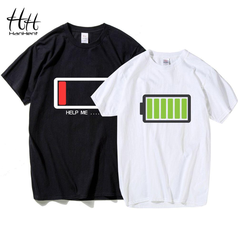 HanHent conception de batterie drôle 2018 T-shirt pour les Couples Valentine cadeau T-shirts amoureux Hip Hop T-shirt homme chemise Camisetas